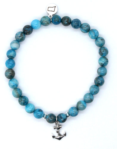 Blue Crazy Lace Agate Stone Bracelet with Sterling Silver Anchor Charm