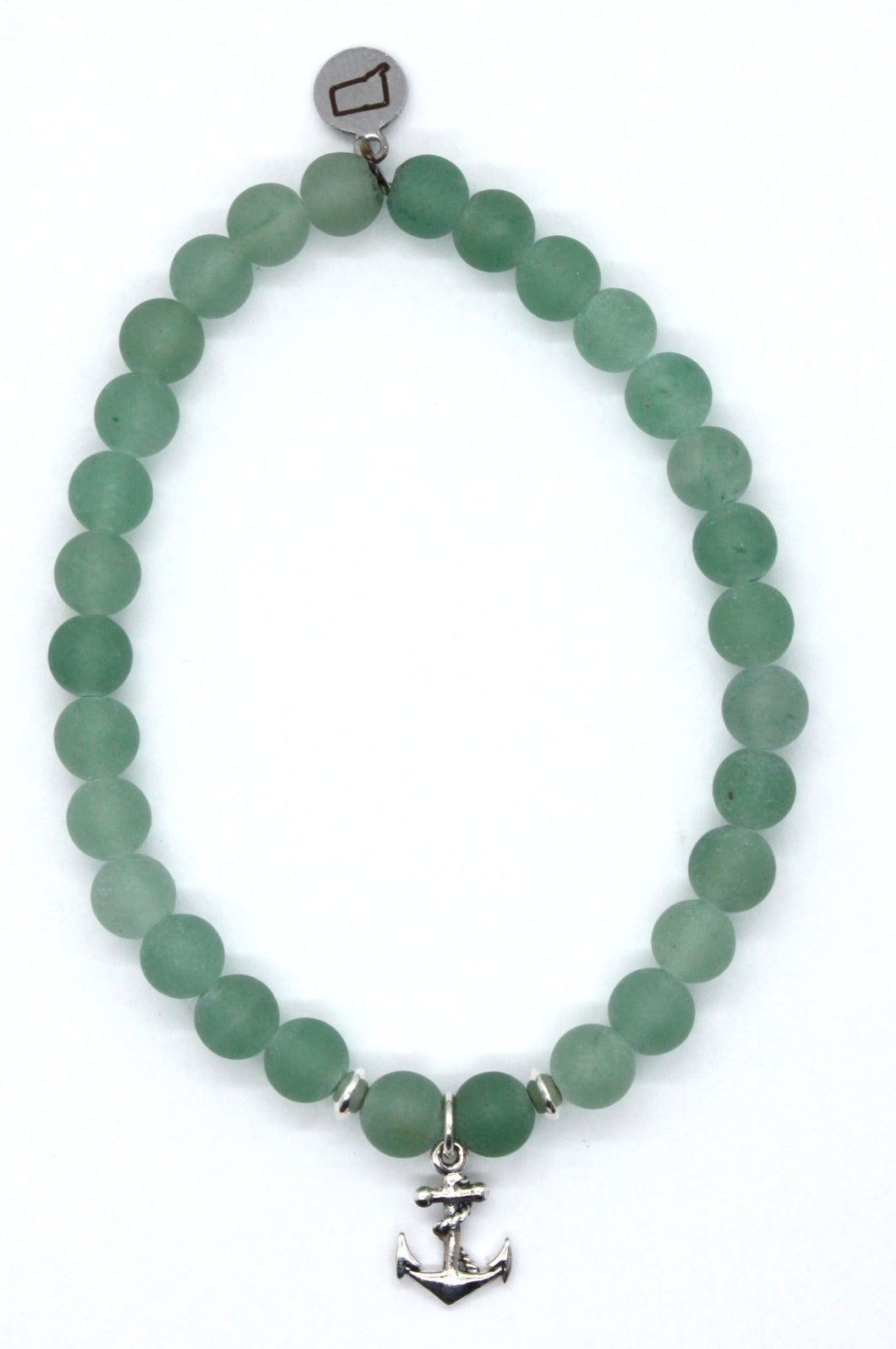 Matte Green Aventurine Stone Bracelet with Sterling Silver Anchor Charm