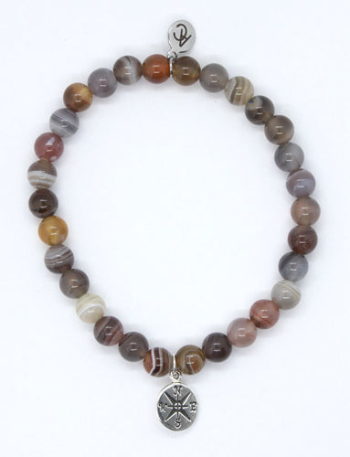 Botswana Agate Stone Bracelet with Sterling Silver Compass Charm
