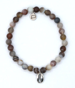 Botswana Agate Stone Bracelet with Sterling Silver Cowrie Shell Charm