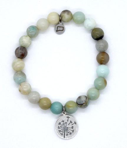 Amazonite Stone Bracelet with Sterling Silver Dandelion Charm