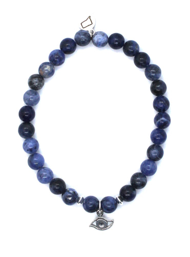 Sodalite Stone Bracelet with Sterling Silver Evil Eye Charm