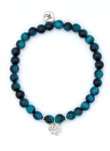 Load image into Gallery viewer, Blue Tiger's Eye Stone Bracelet with Sterling Silver Lotus Charm