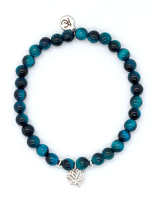 Blue Tiger's Eye Stone Bracelet with Sterling Silver Lotus Charm