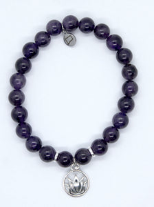 Amethyst Stone Bracelet with Sterling Silver Lotus Charm