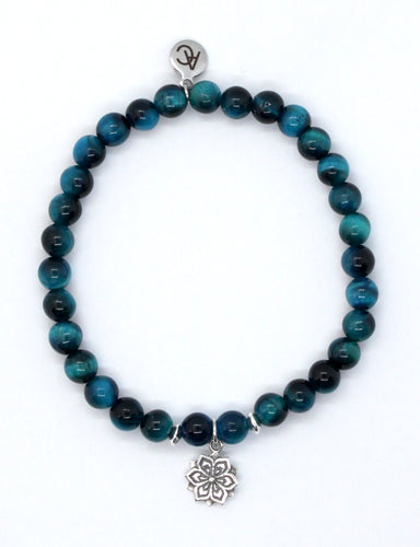 Blue Tiger's Eye Stone Bracelet with Sterling Silver Mandala Charm