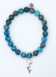 Blue Crazy Lace Agate Stone Bracelet with Sterling Silver Mermaid Charm