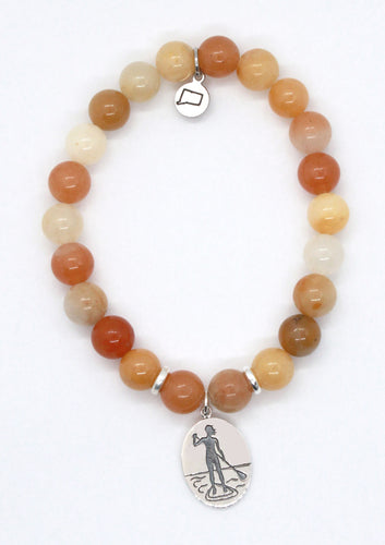 Gobi Jade Stone with Sterling Silver Paddle Board Charm