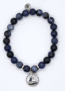 Sodalite Stone Bracelet with Sterling Silver Sailboat Charm