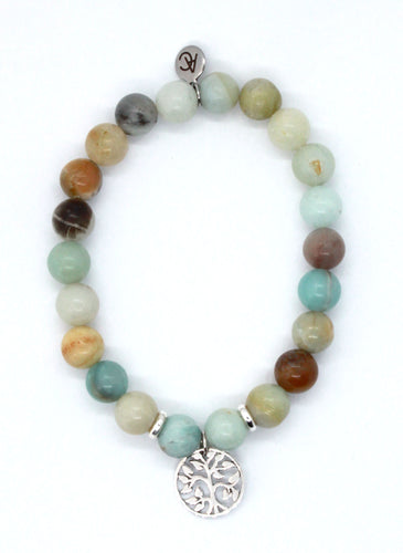 Amazonite Stone Bracelet with Sterling Silver Tree Charm