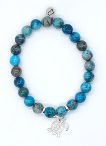 Blue Crazy Lace Agate Stone Bracelet with Sterling Silver Turtle Charm