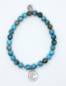 Blue Crazy Lace Agate Stone Bracelet with Sterling Silver Wave Charm