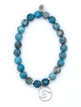 Load image into Gallery viewer, Blue Crazy Lace Agate Stone Bracelet with Sterling Silver Wire Wave Charm
