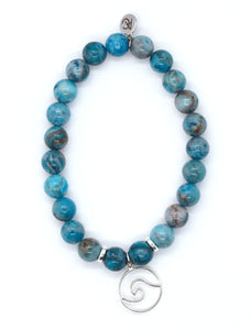 Blue Crazy Lace Agate Stone Bracelet with Sterling Silver Wire Wave Charm