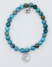 Load image into Gallery viewer, Blue Crazy Lace Agate Stone Bracelet with Sterling Silver Wave Charm