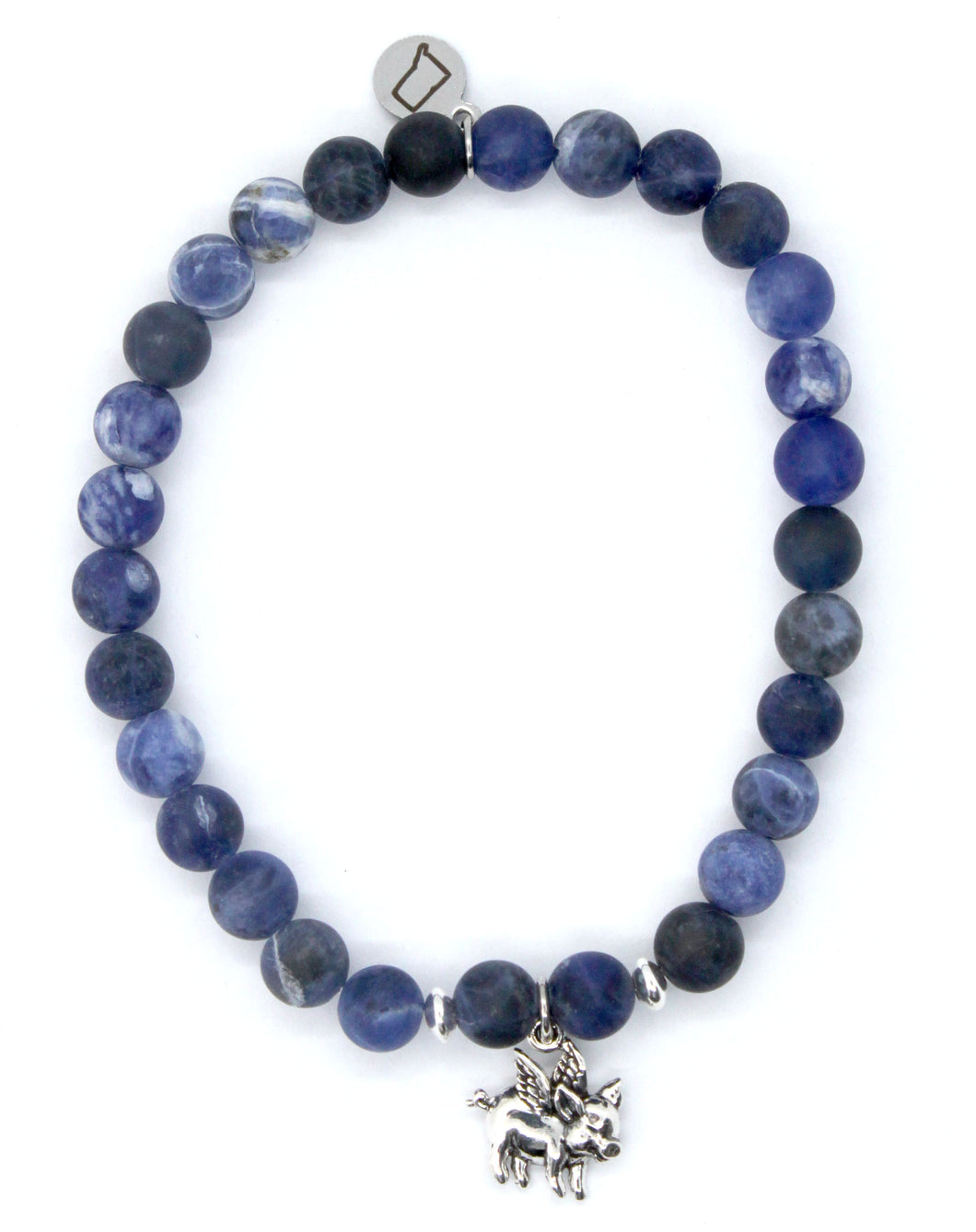 Matte Sodalite Stone Bracelet with Sterling Silver