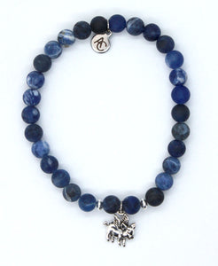 "Matte Sodalite Stone Bracelet with Sterling Silver ""When Pigs Fly"" Charm"