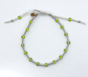 White Lined Peridot Lime Green Macrame Minimalist Bracelet with Light Beige Cord