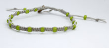 Load image into Gallery viewer, White Lined Peridot Lime Green Macrame Minimalist Bracelet with Light Beige Cord