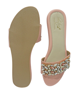 Crystal Slide In Sandal -  Peach