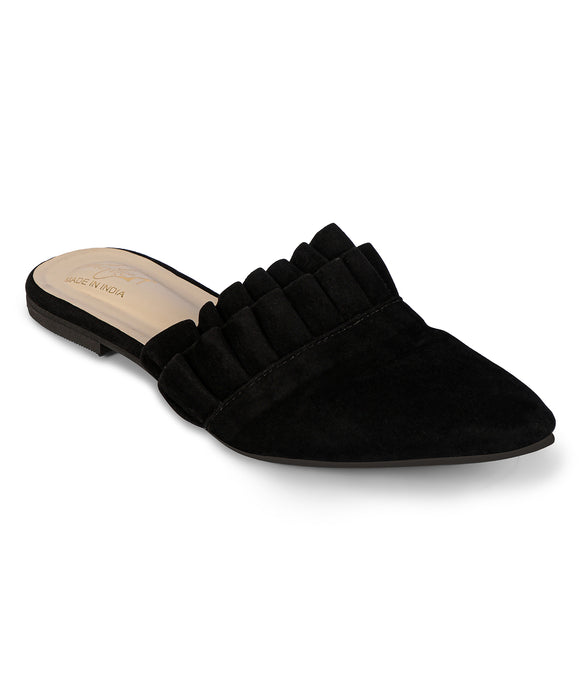 Ruffled Mules - Black