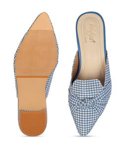 Blue Checkered Mules