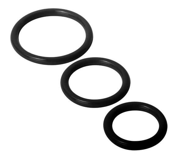 Trinity Silicone Cock Rings - Black TV-SP130-BLK