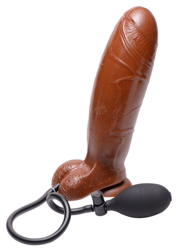 Inflatable Suction Cup Dildo - Brown TV-AB259-BROWN