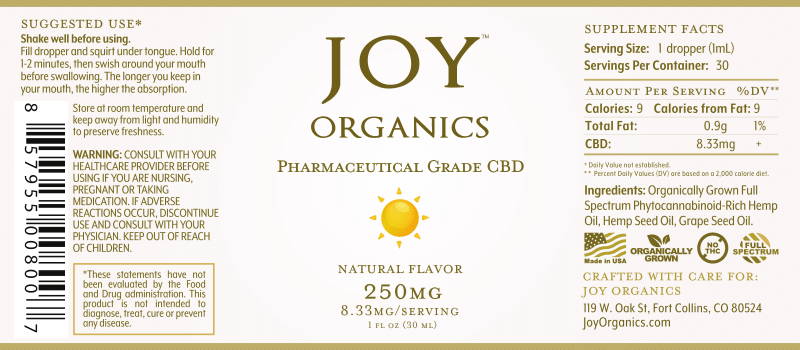 Joy Organics CBD Oil Tinctures 250MG