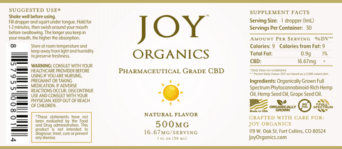 Image of Joy Organics CBD Oil Tinctures 500MG