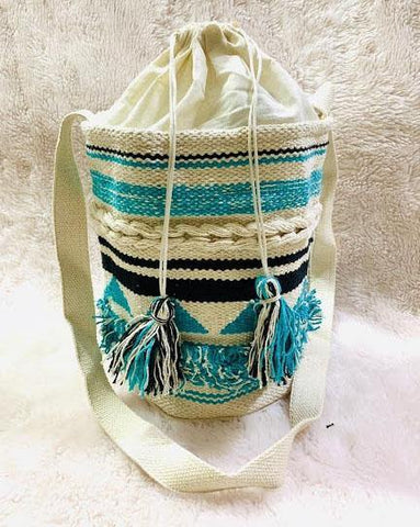 EthniCache Bag Handmade Aqua and White Jute Sling Bag