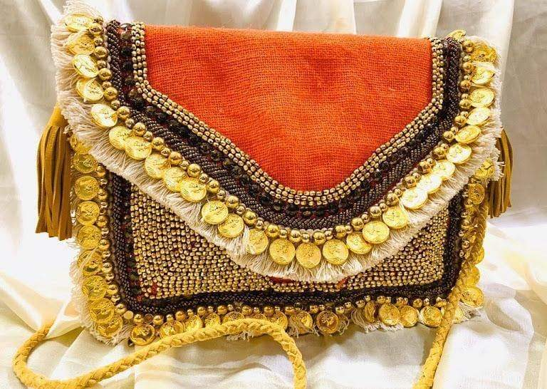 EthniCache Bag Handmade Orange Coin Studded Sling Bag