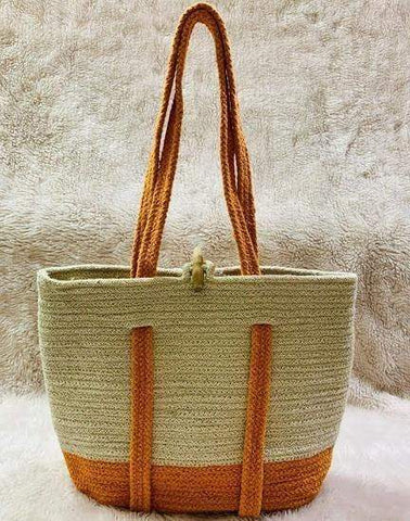 EthniCache Bag Handmade Orange Jute Backpack Tote