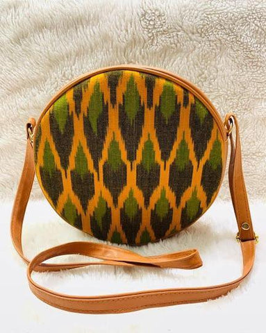 EthniCache Bag Handmade Round Yellow Sling Bag