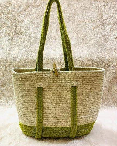 EthniCache Bag Handmade Yellow Jute Backpack Tote