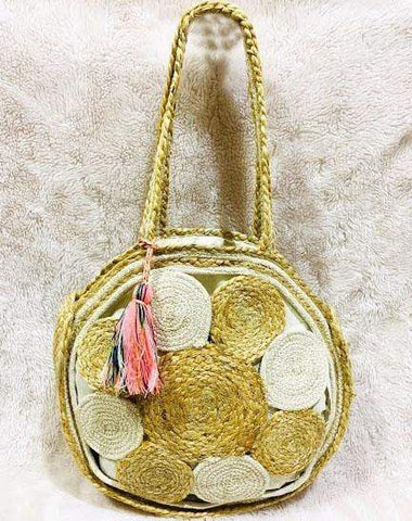 EthniCache Bag Round White and Grey Jute Sling Bag
