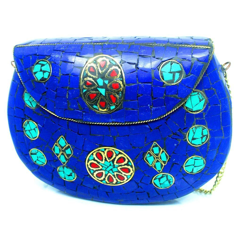 EthniCache Bone Studded Clutch Handcrafted Deep Blue Tile Studded Clutch Bag