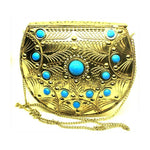 EthniCache Bone Studded Clutch Handcrafted Gold Azure Tile Studded Clutch Bag