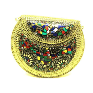 EthniCache Bone Studded Clutch Handcrafted Mixed Contrast Tile Studded Clutch Bag