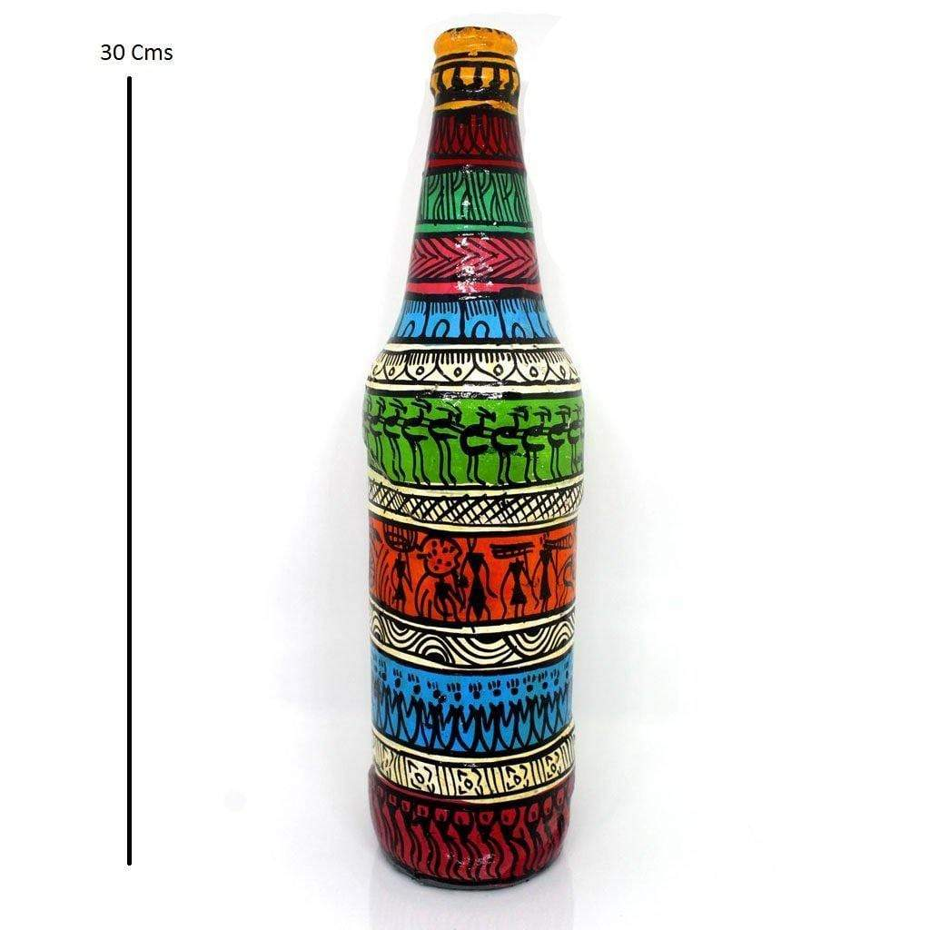 EthniCache Bottle Hand-painted Hues Tribal Painted Bottle Decor