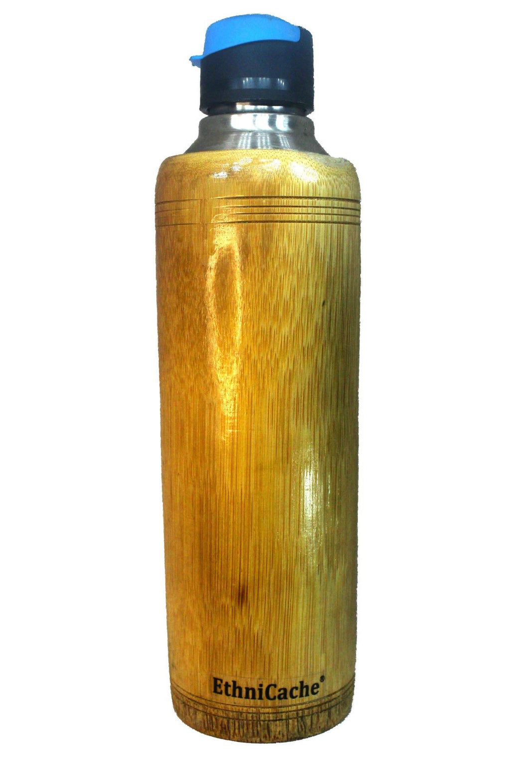EthniCache Bottle Handmade Bamboo and Steel Sipper with Blue Lid