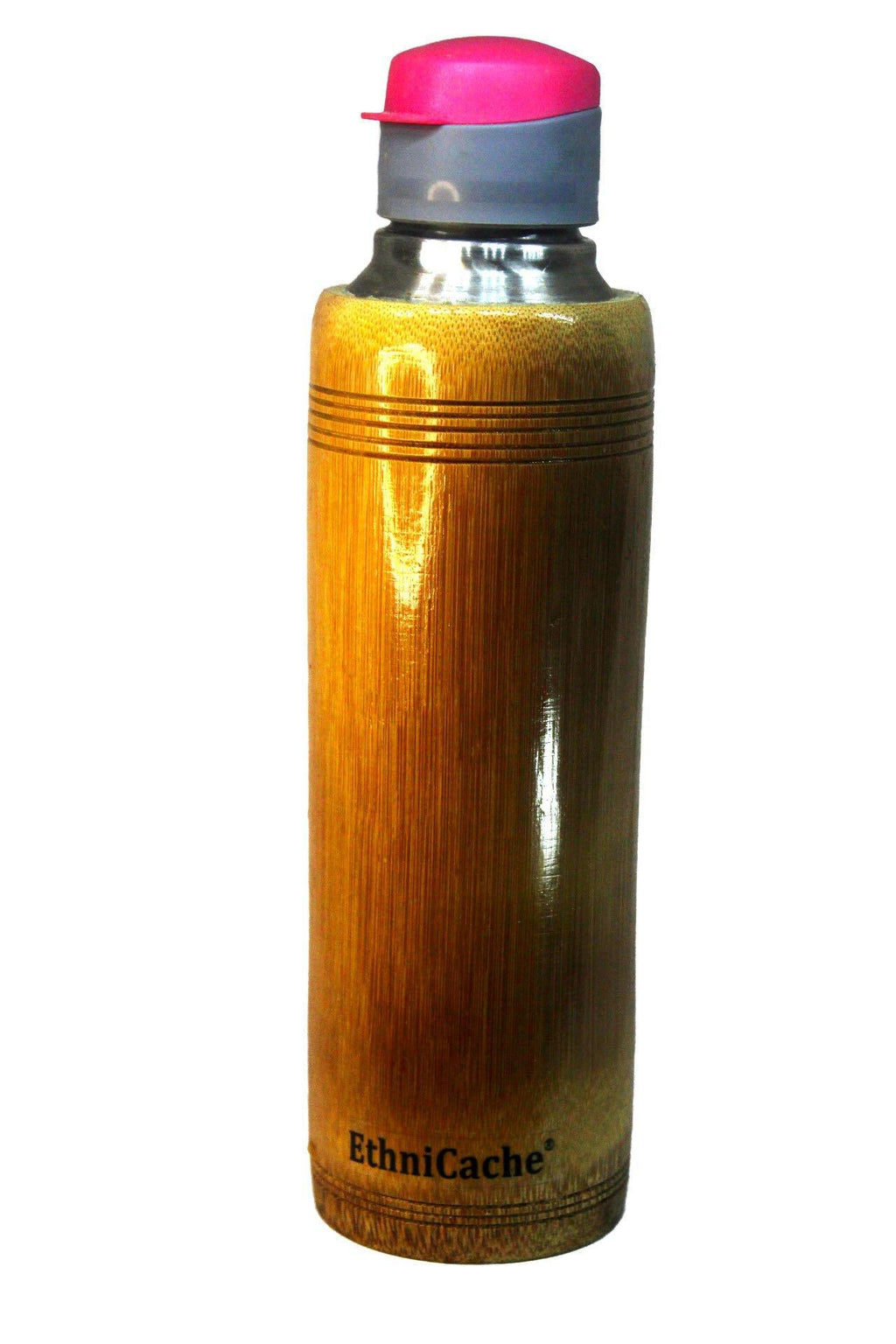 EthniCache Bottle Handmade Bamboo and Steel Sipper with Pink and Green Lid
