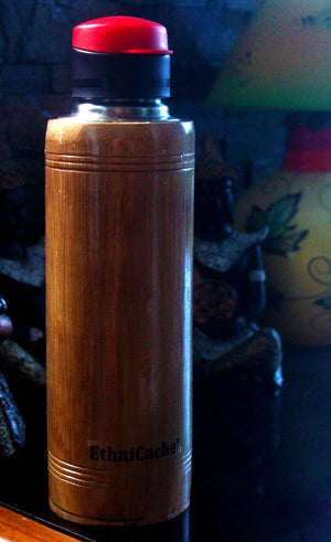 EthniCache Bottle Handmade Bamboo and Steel Sipper with Red Lid