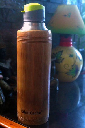 EthniCache Bottle Handmade Bamboo and Steel Sipper with Yellow Lid