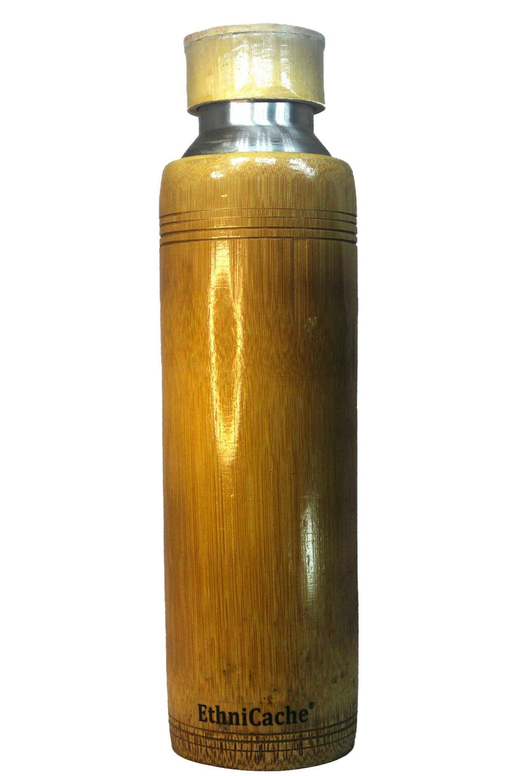 EthniCache Bottle Handmade Bamboo and Steel Water Bottle