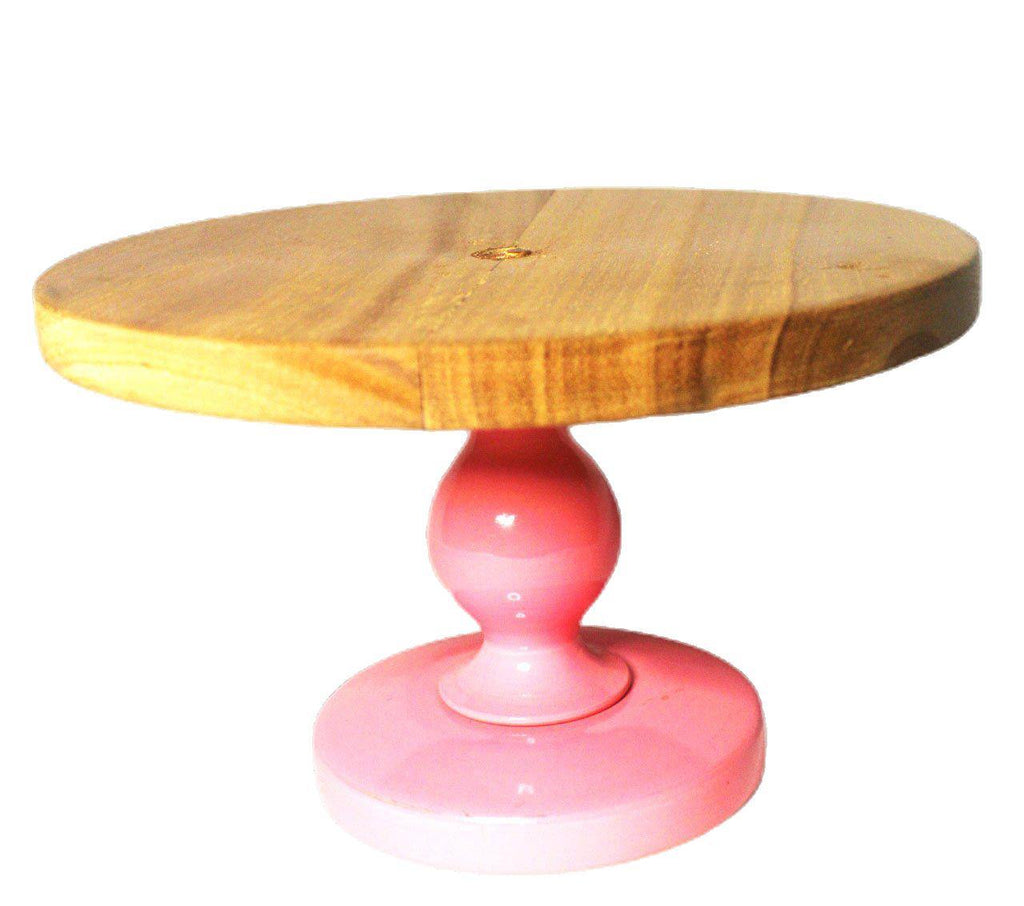 EthniCache Cake Stand Handmade Pink Colored Wooden Cake Stand