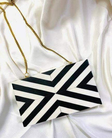 EthniCache Clutch Black and White Resin Clutch Bag