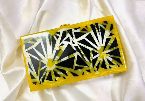 EthniCache Clutch Black and Yellow Designer Resin Clutch Bag