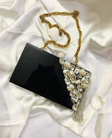 EthniCache Clutch Black Resin Clutch Bag with Studded Crystals