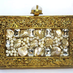 EthniCache Clutch Crystal Studded Rectangle Brass Metal Clutch Bag